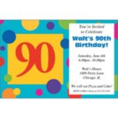 90th Birthday Dots Personalized Invitations