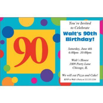 90th Birthday Dots Personalized Invitations