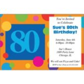 80th Birthday Dots Personalized Invitations