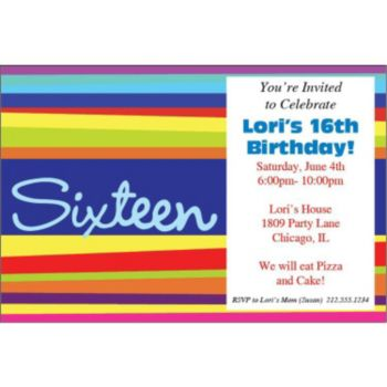 16th Birthday Stripes Personalized Invitations