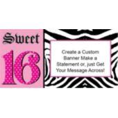 Zebra Pink 16th Birthday Custom Banner