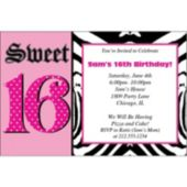 Zebra Pink 16th Birthday Personalized Invitations