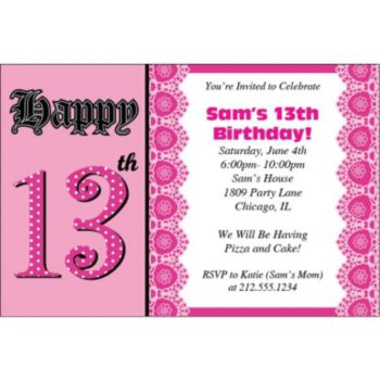 13th Birthday Pink Personalized Invitations