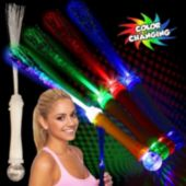 White Fiber Optic LED Wand With Strobe - 15 Inch