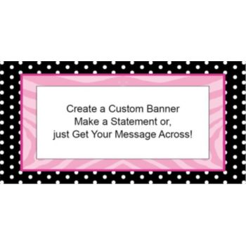 Zebra Pink Dots Custom Banner