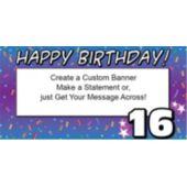 16th Happy Birthday Custom Banner
