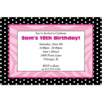 Zebra Pink Dots Personalized Invitations