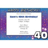 40 Happy Birthday  Personalized Invitations