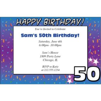 50 Happy Birthday Personalized Invitations