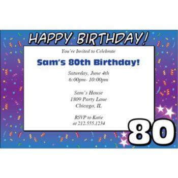 80 Happy Birthday Personalized Invitations