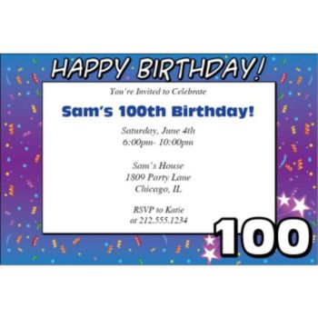 100 Happy Birthday Personalized Invitations