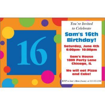16th Birthday Dots Personalized Invitations
