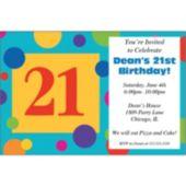 21St  Birthday Dots Personalized Invitations