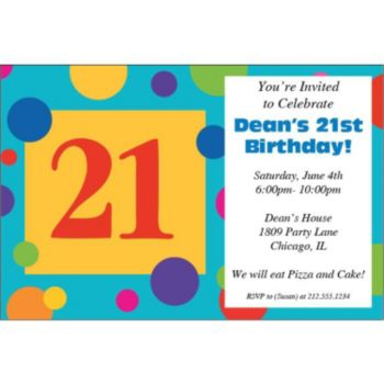 21st Birthday Dots Personalized Invitations