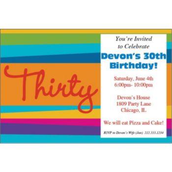 30th Birthday Stripes Personalized Invitations