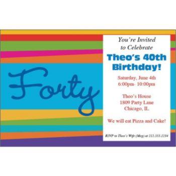 40th Birthday Stripes Personalized Invitations