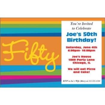 50th Birthday Stripes Personalized Invitations