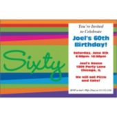 60th Birthday Stripes Personalized Invitations