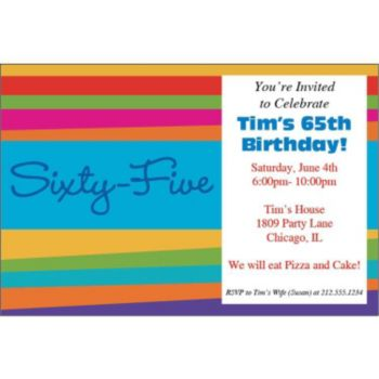 65th Birthday Stripes Personalized Invitations