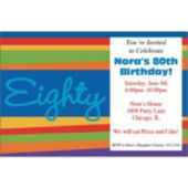 80th Birthday Stripes Personalzied Invitations