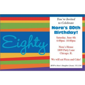 80th Birthday Stripes Personalized Invitations