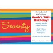 70th Birthday Stripes  Personalized Invitations