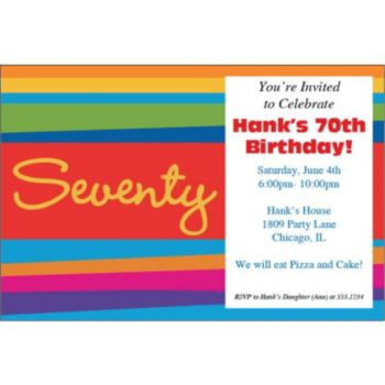 70th Birthday Stripes Personalized Invitations