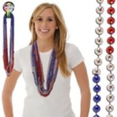 Red, Silver, Blue 36 Sectional Bead Necklaces (7mm Beads)""
