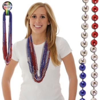 "Red, Silver, Blue  36"" Sectional Beads"