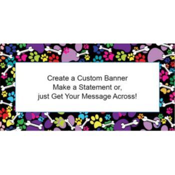 Colorful Paw Prints Custom Banner