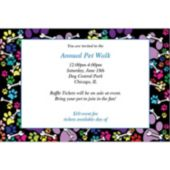 Colorful Paw Prints  Personalized Invitations