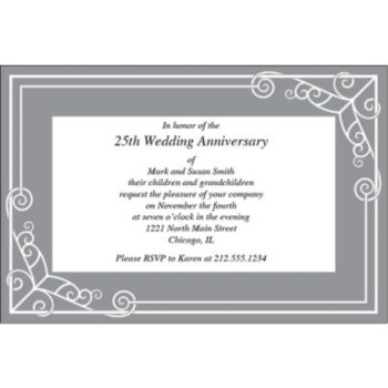Pewter Border Personalized Invitations