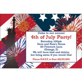 Fireworks 4th of July Personalized Invitations