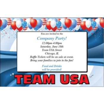 Team USA Personalized Invitations