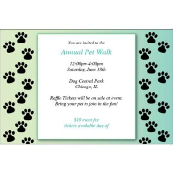 Paw Prints Personalized Invitations