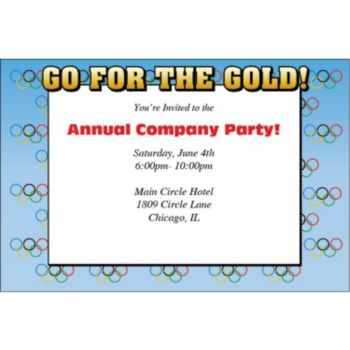 Olympic Gold Rings Personalized Invitations