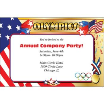 Stars and Stripes Olympic Personalized Invitations