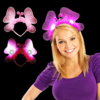Pink LED Butterfly Headband