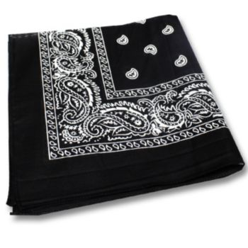 "Black Cotton   22"" Bandanas"