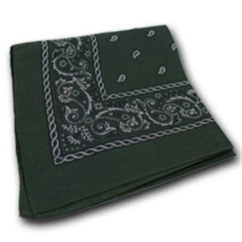 Dark Olive Green Cotton Bandanas - 22 Inch, 12 Pack