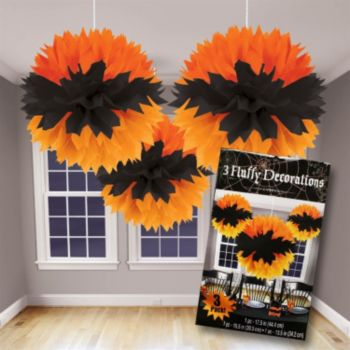 Orange & Black  Fluffy Decorations