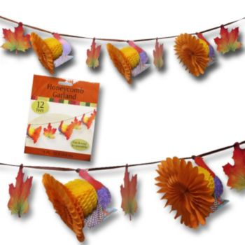 Turkey & Fall Leaf Honecomb Garland