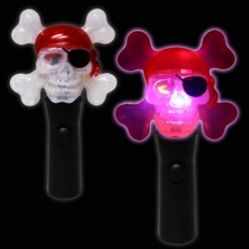 LED Pirate Skull Spinner Wand - 7 Inch