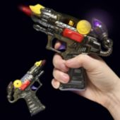 "Mini LED and Light-Up 6 1/2"" Toy Ray Gun With Sound"