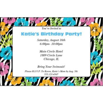 Wild Hibiscus Personalized Invitations