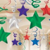 Multi Color Star Swirl Decorations-30 Pack