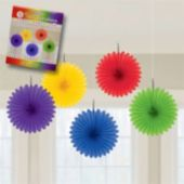 Colorful Hanging Fan Decorations-5 Per Unit