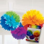"Rainbow Fluffy 16"" Decoration - 3 Pack"