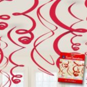 Red Swirl Decorations-12 Pack