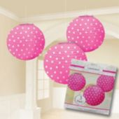 Pink Polka Dot Lanterns-3 Per Unit